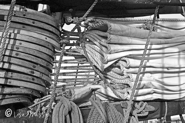 Pride of Baltimore ll Gaff Rings & Sail 1968 b&w