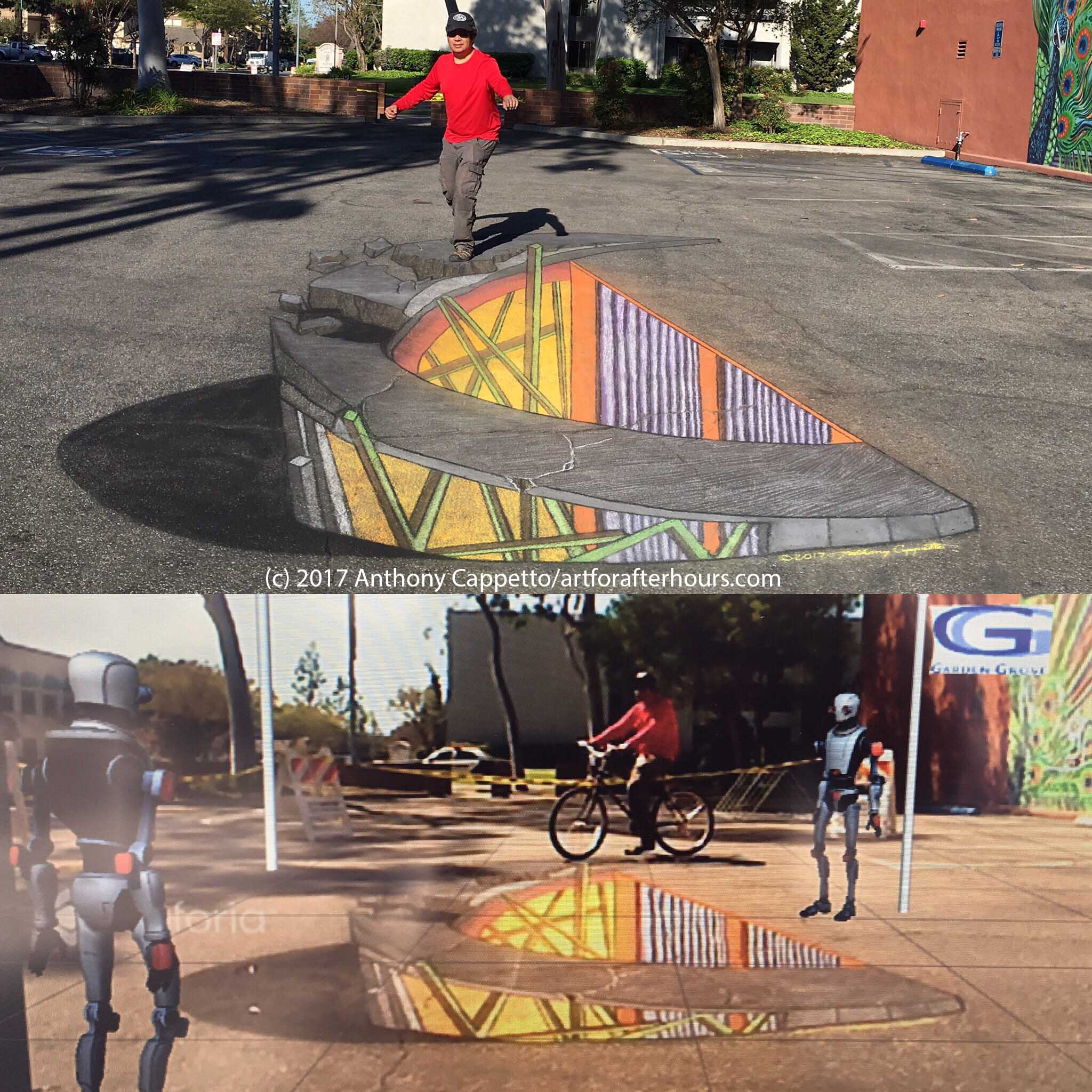 4D Immersive Street Art Installation using Augmented Reality and dry chalk street painting - Garden Grove, CA