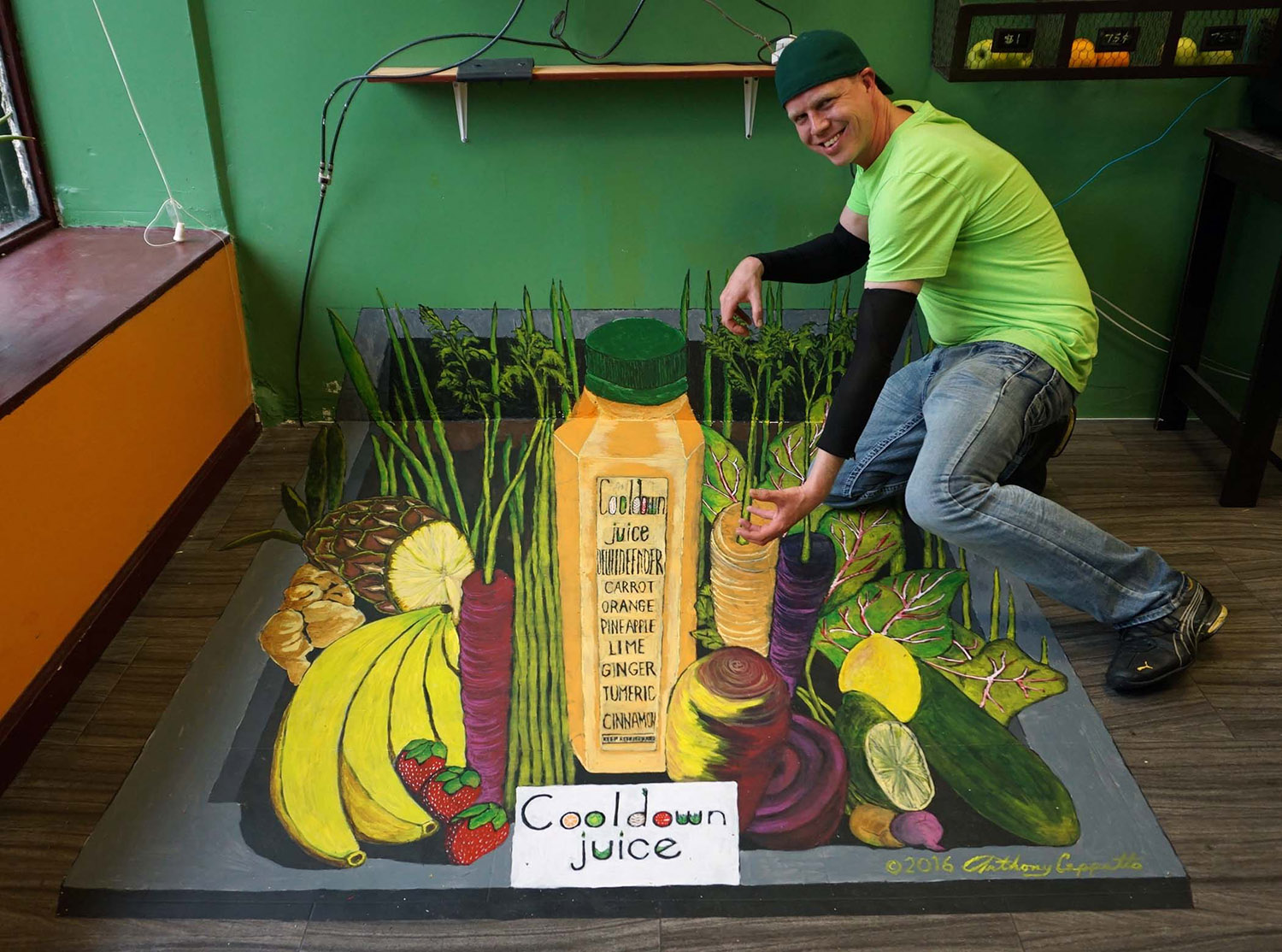 3D mural install for a juice store in Queens, NY...