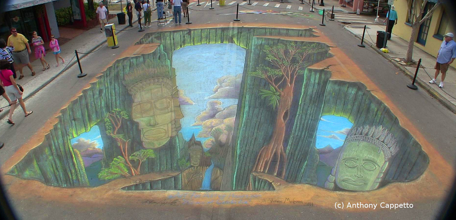 Large scale Live 3D chalk art with 4D emerging tech using AR...