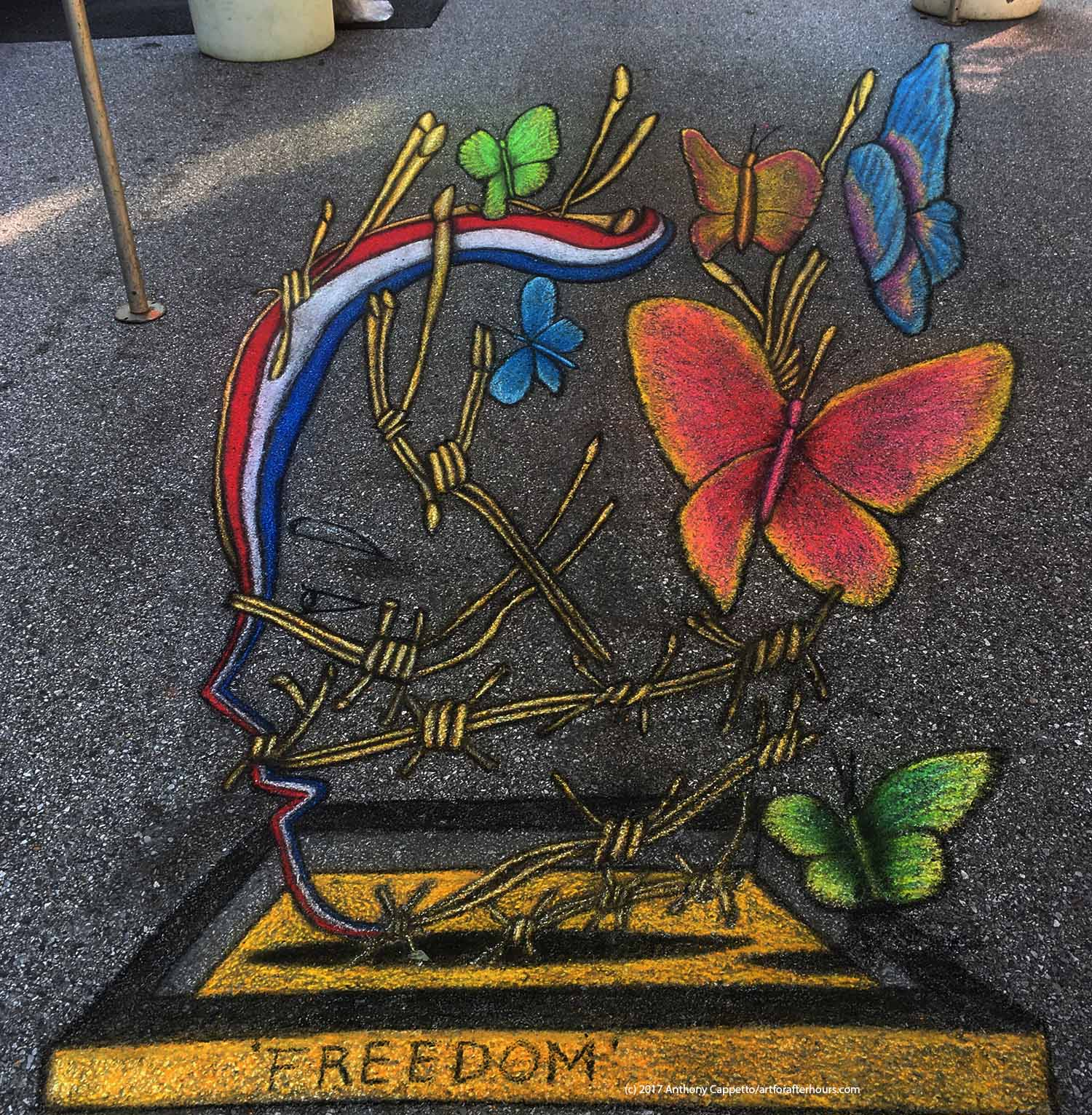 'Freedom': 8 feet wide by 16 feet deep. Chalk on pavement at the Little Italy Madonnari Festival in Baltimore, Maryland.  Artists: Anthony Cappetto (lead) with Wendy Stum.