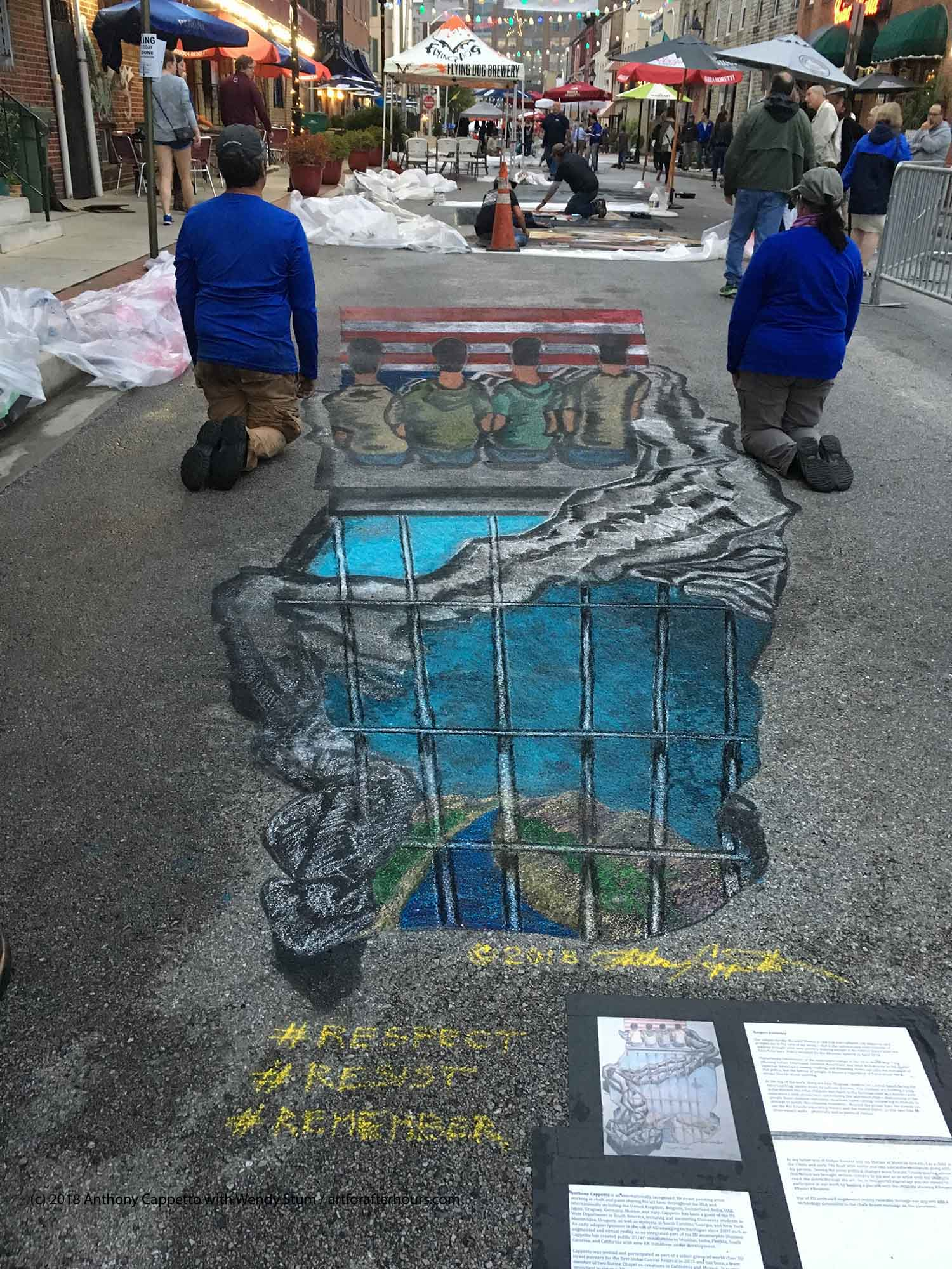 Artists Anthony Cappetto and Wendy Stum facing with the drawn children in solidarity.