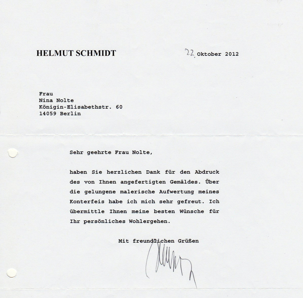 Helmut Schmidt - A letter from 2012 written by Helmut Schmidt thanking me for a copy of his portrait I´d sent to him.