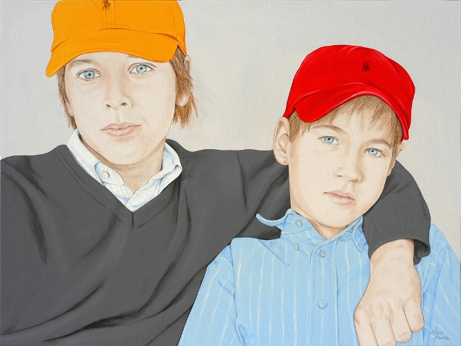Ferdinand and Hubertus  acrylic on canvas  90 x 120 cm