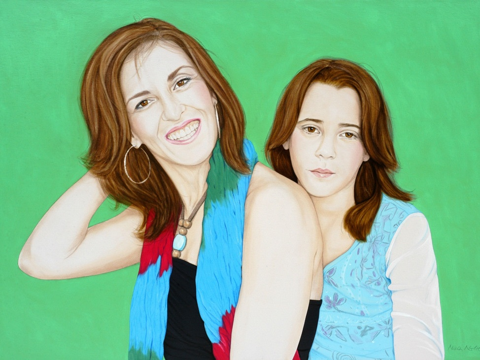 "Natalia and Noemi - Acrylic on canvas100 x 140 cm (39 x 55"")"