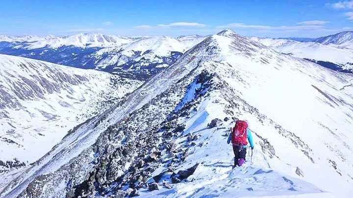 Crossing a sharp section of ridge on the way up North Star Mountain (13,614').