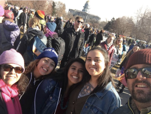 The author, left, with her daughter and daughter's friends, and husband at the Women's March, January 20, 2017, Denver.
