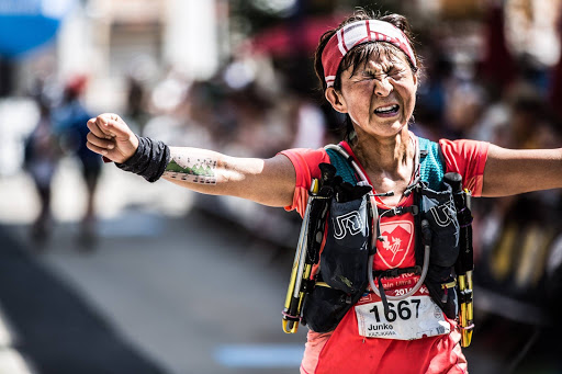 Junko Kazakawa finishing the UTMB in 2016