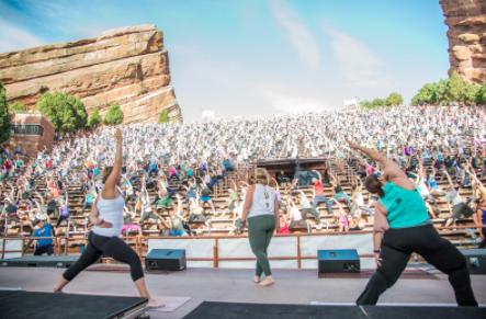 Lafferty teaching at Yoga on the Rocks, Red Rocks Amphitheater, June 2017.