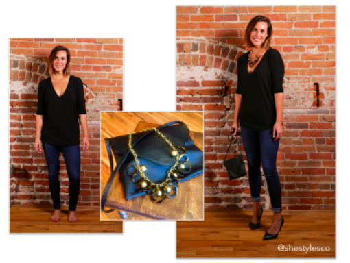 - Confident meets flirty. Put a little sass in your step with some black heels, and do a messy cuff with your jeans to show off your ankles. Accentuate your neck with a fun statement piece, this is what will make the outfit. Grab a black purse to tote your goods and voila!