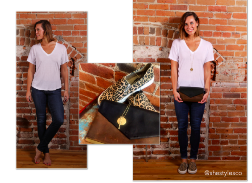 - Natural meets fun. Accent that white space with a long pendant necklace, grab a two-toned clutch and add some fun flair with an animal print on the bottom--just the pop you need to stand out, even with this look's simplicity.