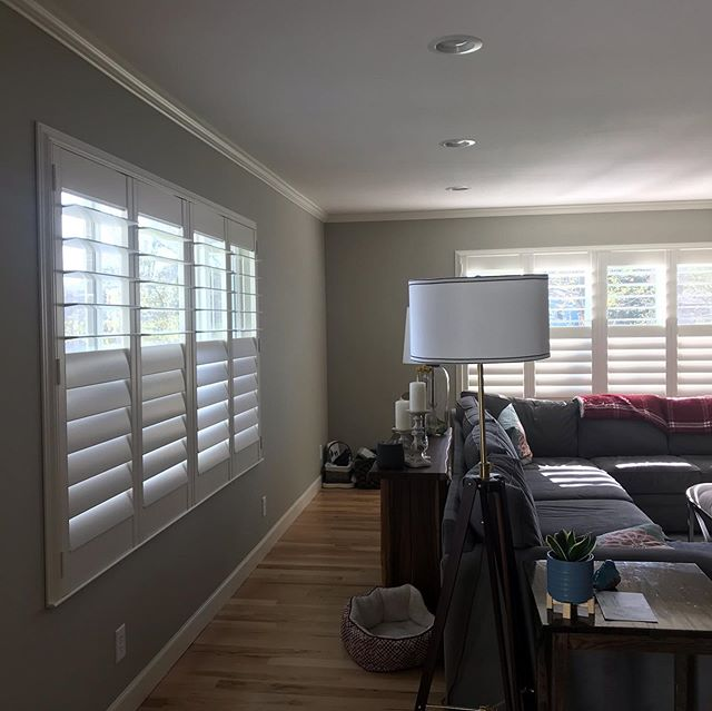 These windows had little personality (see pic 4 before) being drywall wrapped. The addition of framed shutters finished them with trim and the perfect amount of privacy and sun control. #shutters #elegantwindows #lifestyle #nakedwindows #dressmywindows #exquisitewd #hunterdouglas #windowcoverings #designsforlife #kidsafewindows #happyclients