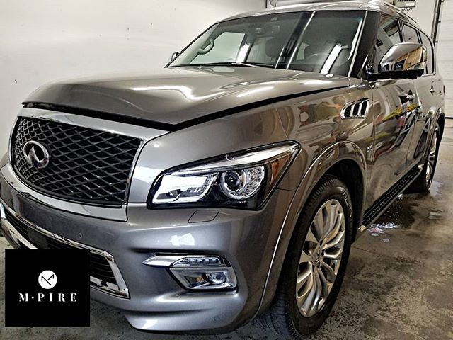 M-pire Platinum detailing pkg completed on this Infinity Qx80 including polish and our Carnuba hybrid wax. Swipe 👈 to see how it turned out.  #m-pire.ca #autodetailing #winnipeg #manitoba #cars #imports #shine #detailing #winnipegcars #devilsinthedetails #dealerships #winnipegdealerships #autos #forsale #infinity #infinityqx80 #qx80 #birchwoodinfiniti