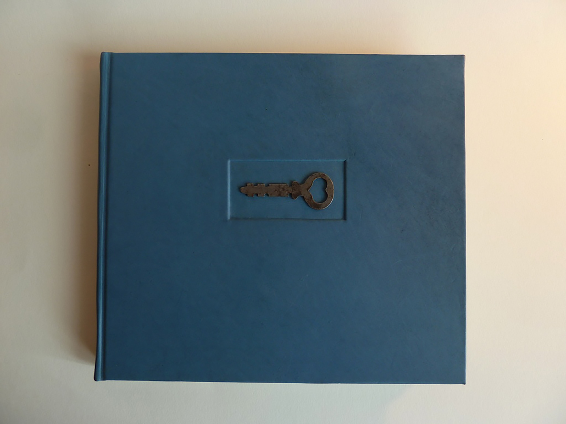 Full leather Guest Book with antique key