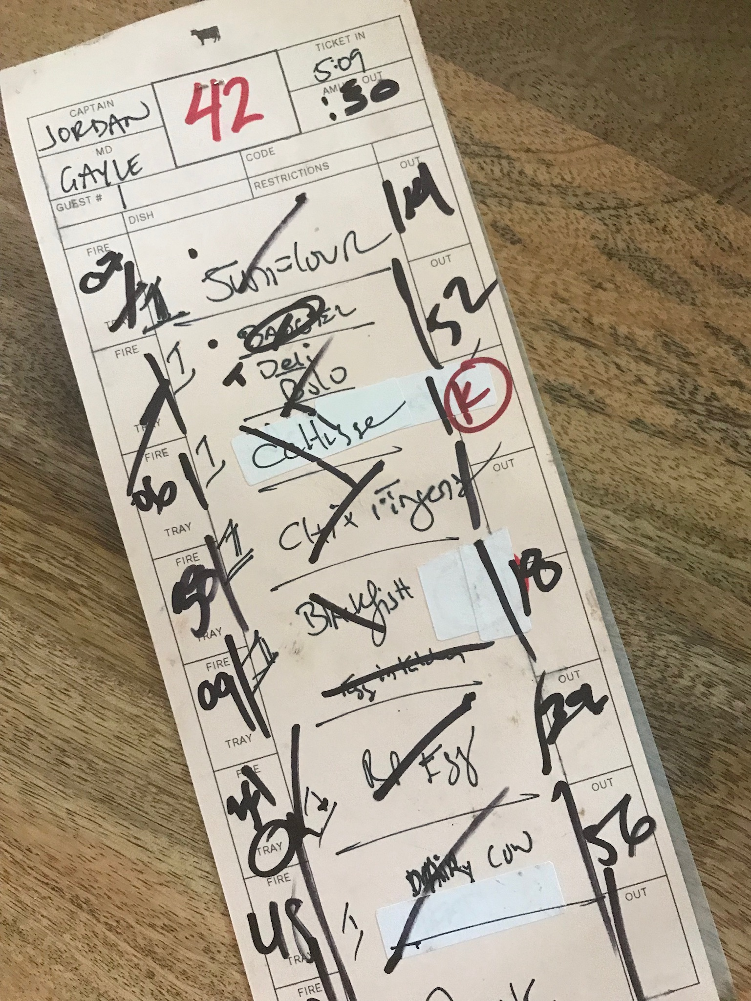 This is the ticket on which chef Dan Barber writes each table's courses.
