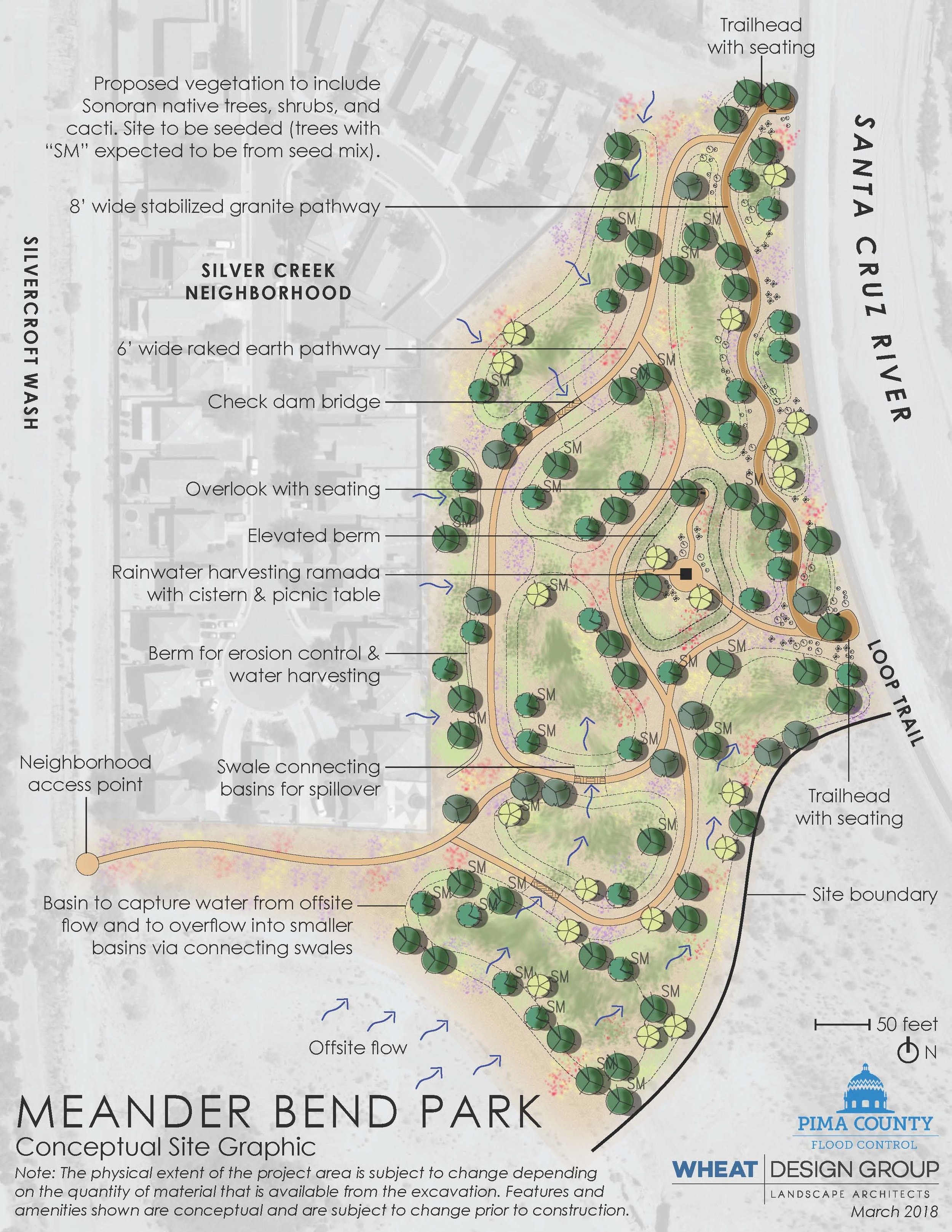 Pictured Above: The conceptual plan view rendering of Meander Bend Park.