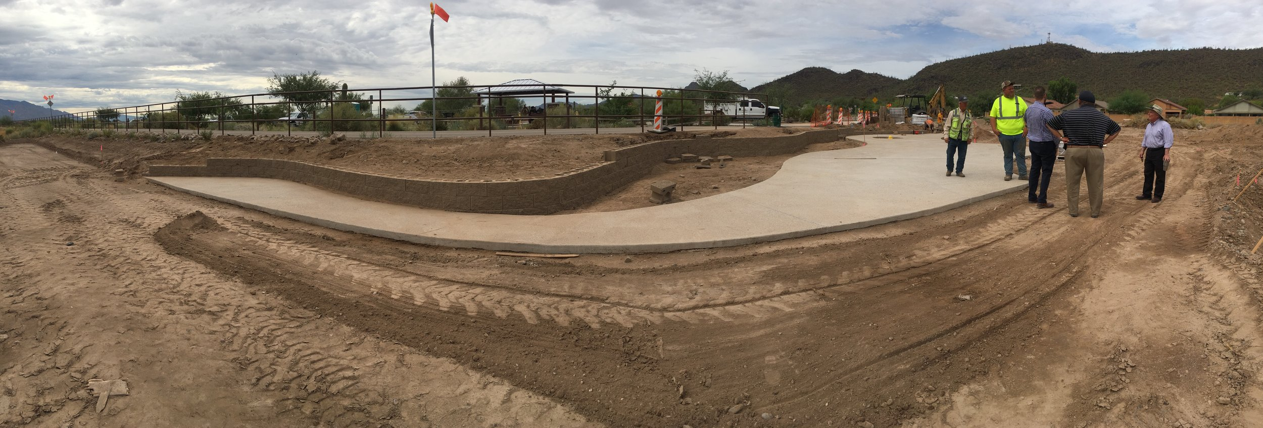 Construction site at El Rio Preserve. Pictured is the pedestrian plaza which will eventually include seating and interpretive signage.