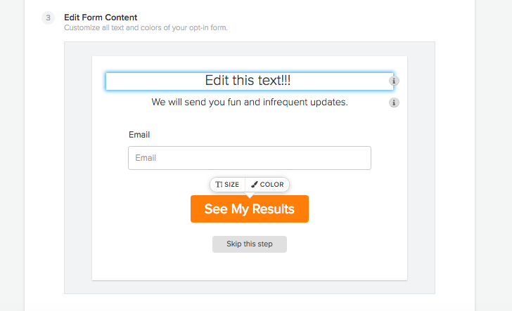 set up interact quiz template