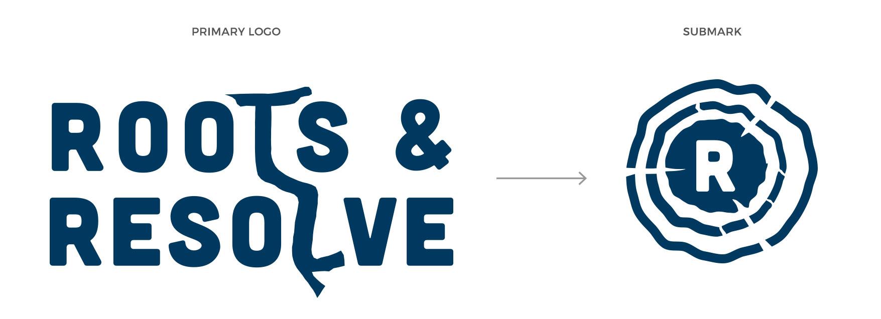 Roots & Resolve logo versus submark