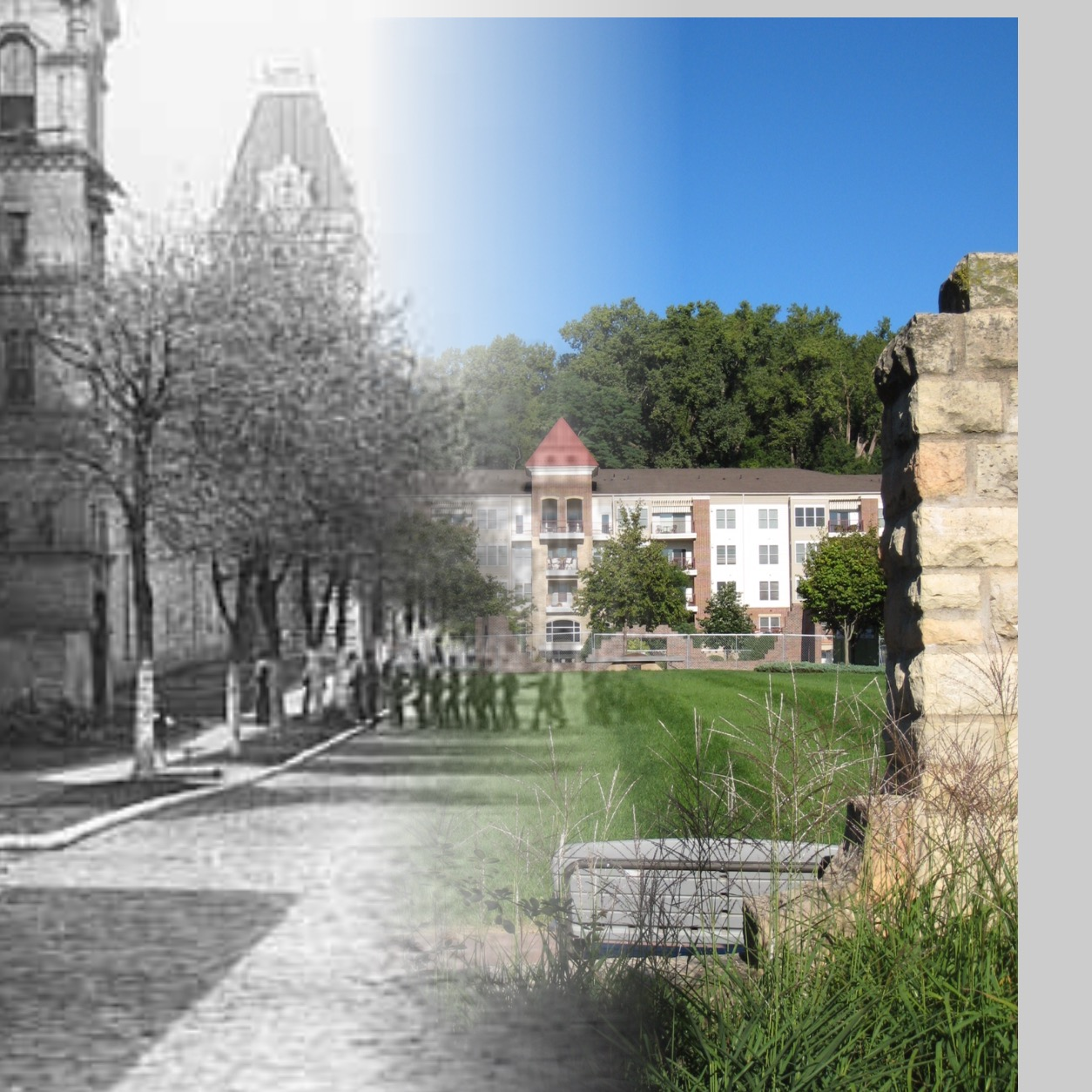 """This is a """"Time-Tunnel"""" photo between the years 1907 and 2016. This allows you to travel between these years at the same location and vantage point. Photo credit is Mr. John Runk and R. Molenda, courtesy of the Stillwater Public Library. This is presently the location of Terra Springs Condominiums. The only part of the original prison left is the rock wall in the foreground."""