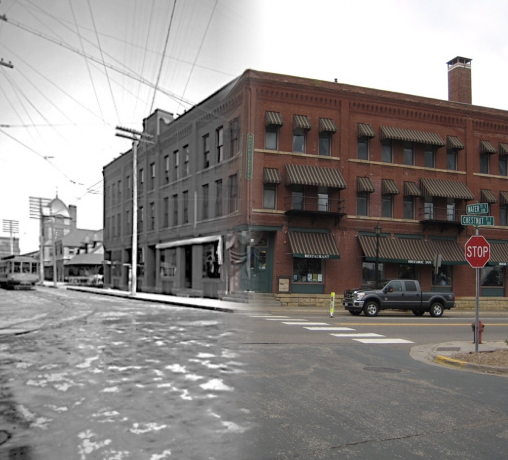 "This is a ""Time-Tunnel"" photo that allows you to see the changes from 1914 to 2016 as you walk through the scene.  Today the building is the home of the Water Street Inn.  There have been additions to the building and more changes planned for the future. Photo credit is Mr. John Runk for the historical photo, R.Molenda for the 2016 photo.  To view the 2016 image of this same location, just click or tap the photo above."