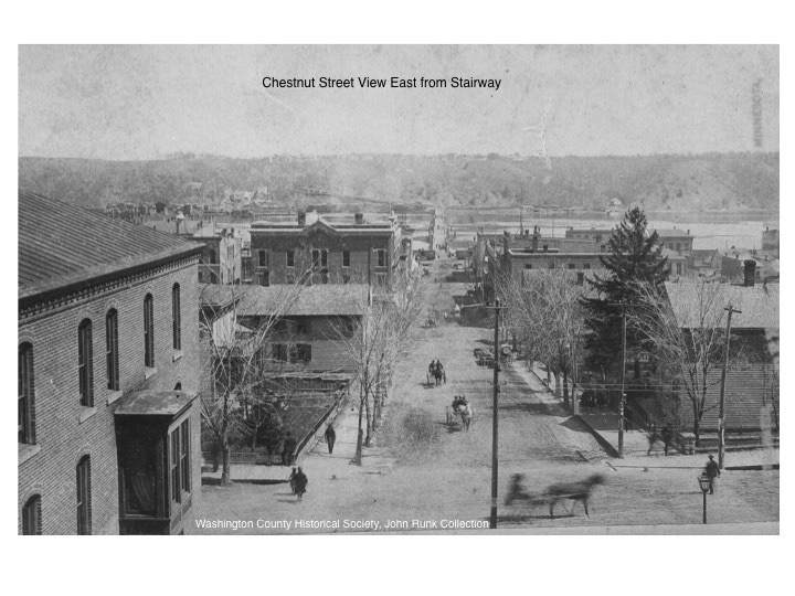 Chestnut Street Stairway, before 1890's. John Runk Collection courtesy of the Washington County Historical Society. The vantage point is toward the east.