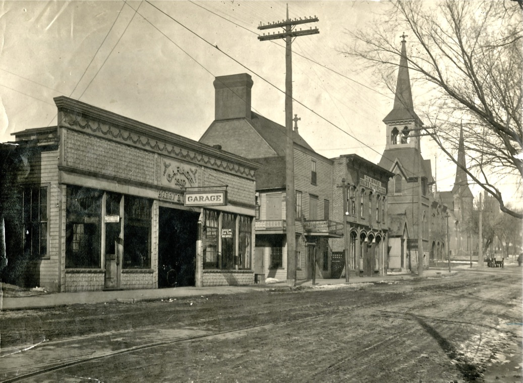 """The year is 1917 and the place is 3rd Street and Chestnut looking northwest toward the church steeples. In the foreground you can see the streetcar tracks. The Presbyterian Church is the nearest steeple, with Trinity Lutheran and the Episcopal church in the background. The Firehouse was just north of the Presbyterian Church. The photo is from the John Runk Collection, courtesy of the Washington County Historical Society.  To take a """"Time-Tunnel"""" trip from 1917 to 2016, just click on the above photo and envision yourself waiting for the streetcar just after the First World War."""