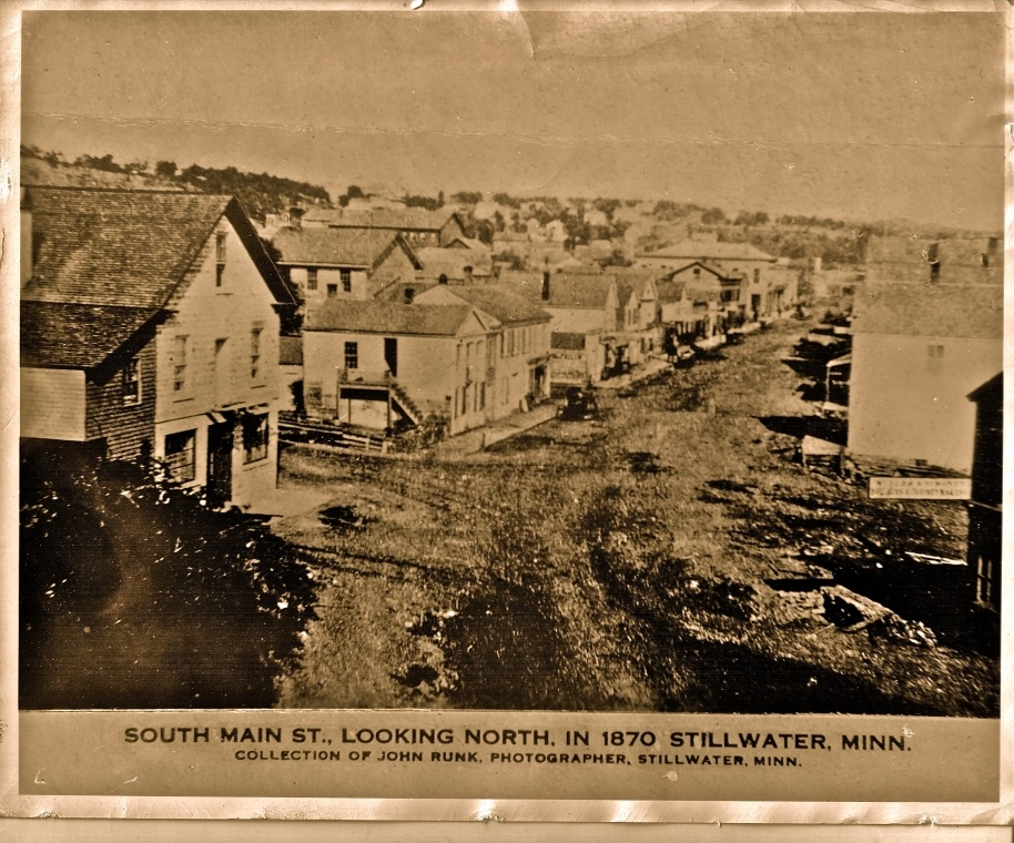 This view is from midway up the south hill, or taken from the building that stood at this location. The year is 1870. This is from the John Runk Collection, courtesy of the Stillwater Public Library.