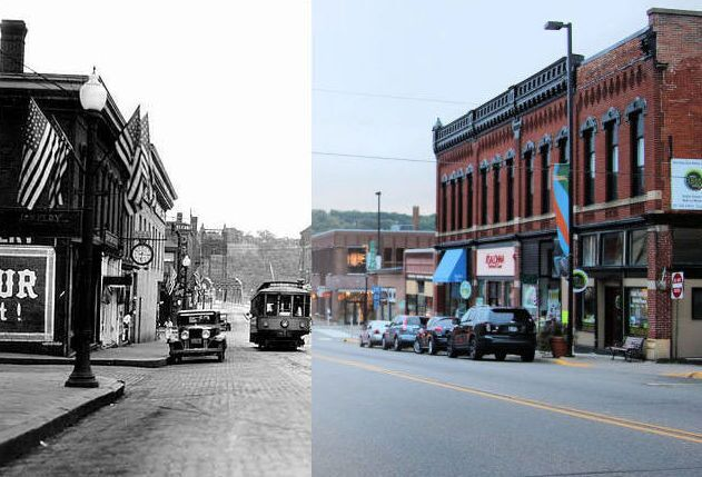 """This is a """"Time-Tunnel"""" photo of this location from 1920 to 2016. Photo credit is to Mr. Tom Wieland. The historical photo is from the John Runk Collection, Stillwater Public Library."""
