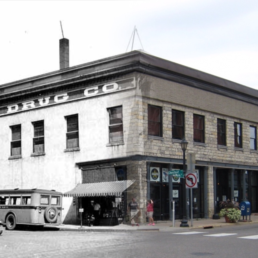 """This is a """"Time Tunnel"""" photo that takes you from 2016 to ca.1925. The photo is at the same location and is morphed between the two time periods. Historical photo is from the John Runk Collection, Stillwater Public Library. The 2016 photo is credited to T. Wieland and R. Molenda.  Click or Tap on the Photo to view the 2016 photo by Tom Wieland."""