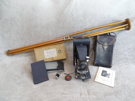 Christian D. Lewerer's Kodak 3A Autographic Camera with Accessories. Photo from Allen Lewerer, 2018.