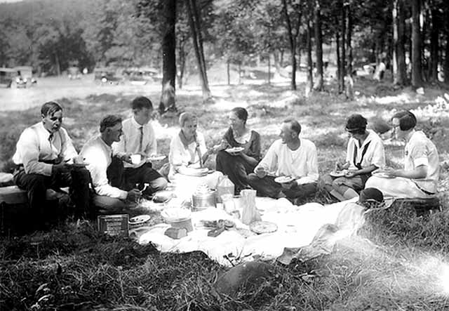 Left to right: Anton F. Richert, Christian D. Lewerer, John Runk, Unknown Person, Sophie (Riemenscheider)Lewerer, Unknown Person, Helen (Lewerer)Richert. Photo from Lewerer Family Collection, Allen Lewerer, also Minnesota Historical Society, John Runk Collection.