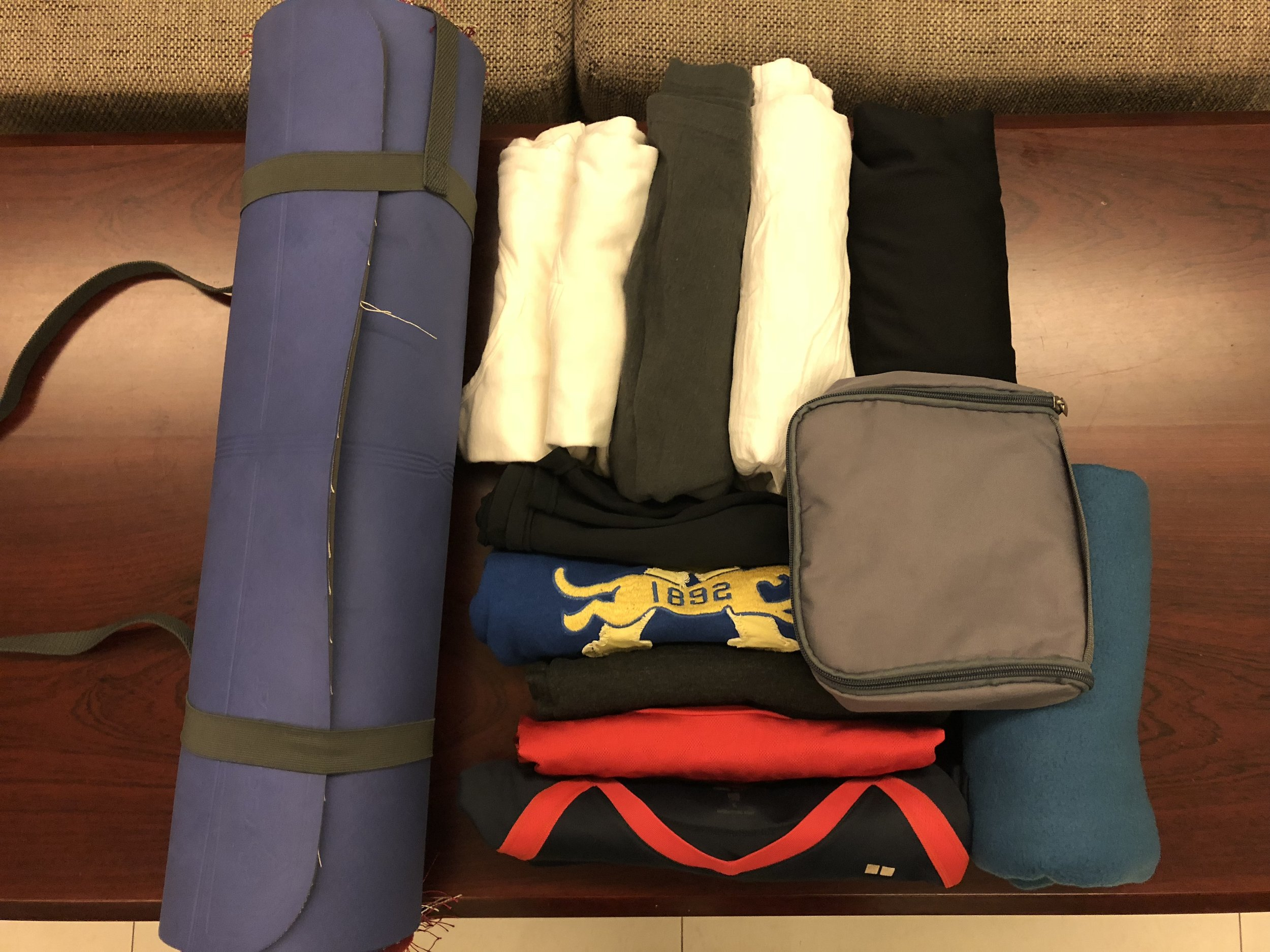 My 10 articles of clothing and a yoga/meditation mat.