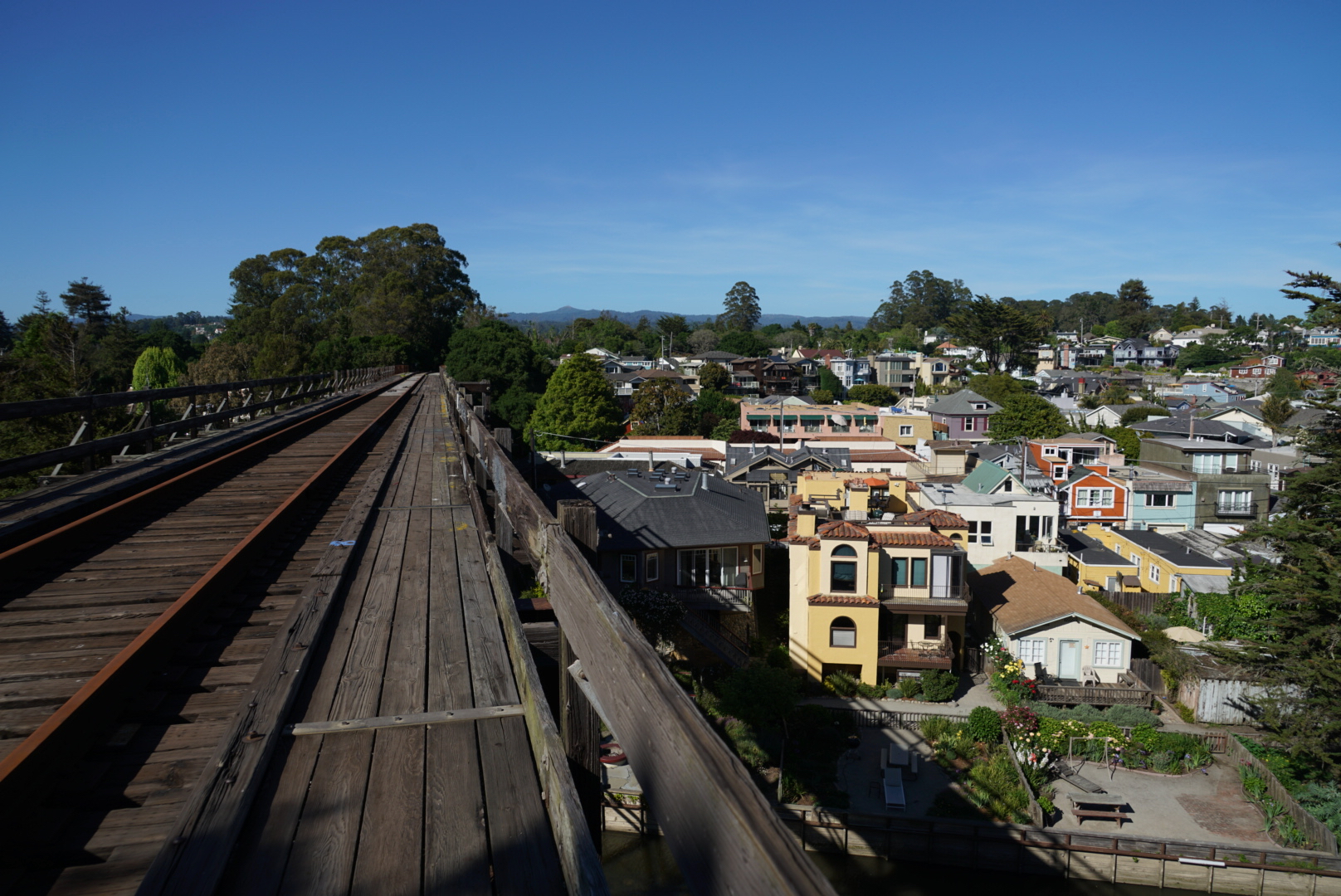 The people of Capitola are afraid that a train might fall into the Village if Iowa Pacific runs another holiday train this winter. They do not want trains crossing their historic trestle.  A majority of people who participated in the May 2016   Vision Capitola: Creating Community   survey said that a trail-only solution would be the best plan for their community.