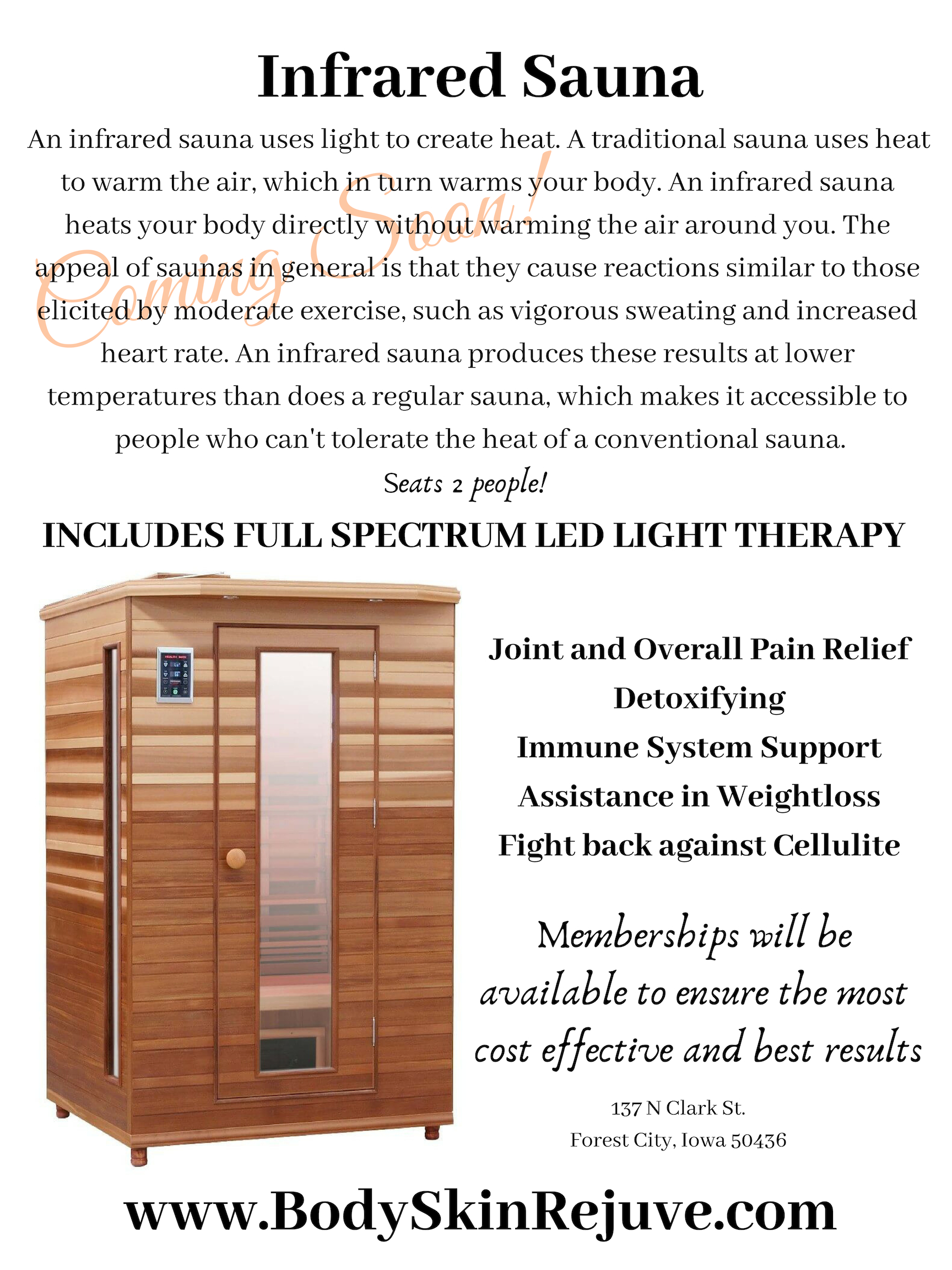 Infrared Sauna Coming Soon!