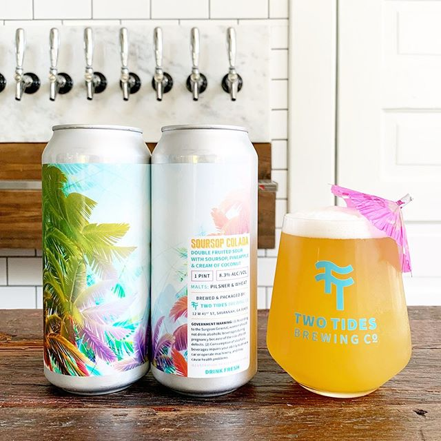 Join us on a tropical vacation this Friday as we release Soursop Colada, a soursop piña colada-inspired sour beer. Kettle soured in our typical fashion and conditioned on copious amounts of soursop (also known as guanabana), pineapple, and cream of coconut for an invigorating tropical tidal wave of flavor. Did we mention it's 8.3% ABV and will also be available FROZEN on Friday? If you want to take a 4 pack home and complete the piña colada sensation by adding your own spiced rum... well... that's your own prerogative. $17/4 pack. #Sour #SourBeer #BeerRelease #DrinkLocal 🍹 Illustration by Alexandria Hall