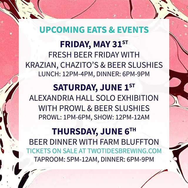 Lots of exciting things happening at the taproom over the next two weeks including our first beer dinner, Alexandria Hall's solo exhibition, and the return of the De Soto Street Market. ⠀⠀⠀⠀⠀⠀⠀⠀⠀ We'll also be celebrating the warmer weather with beer slushies EVERY Friday and Saturday this summer. So if you haven't had the chance to grab one in the past there will be plenty of opportunities in the future!