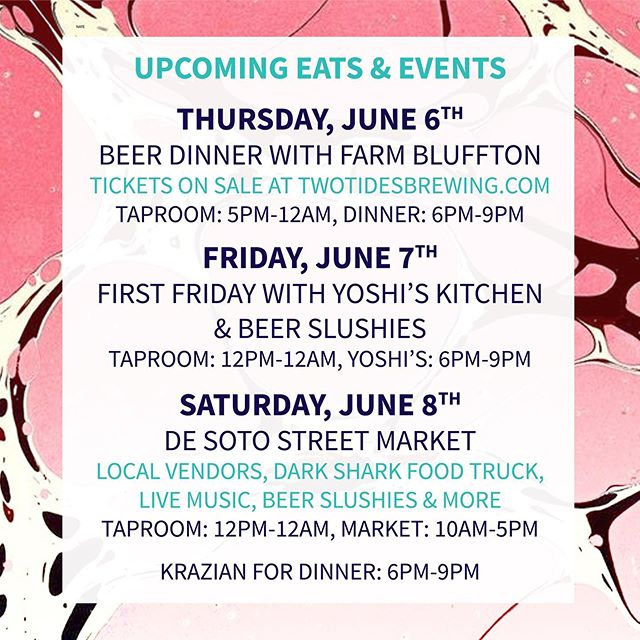 Lots of exciting things happening at the taproom over the next two weeks including our first beer dinner THIS THURSDAY, and the return of the De Soto Street Market this Saturday. ⠀⠀⠀⠀⠀⠀⠀⠀⠀ If you haven't heard we'll also be celebrating the warmer weather with beer slushies EVERY Friday and Saturday this summer (new flavors too!). So if you haven't had the chance to grab one in the past there will be plenty of opportunities in the future!