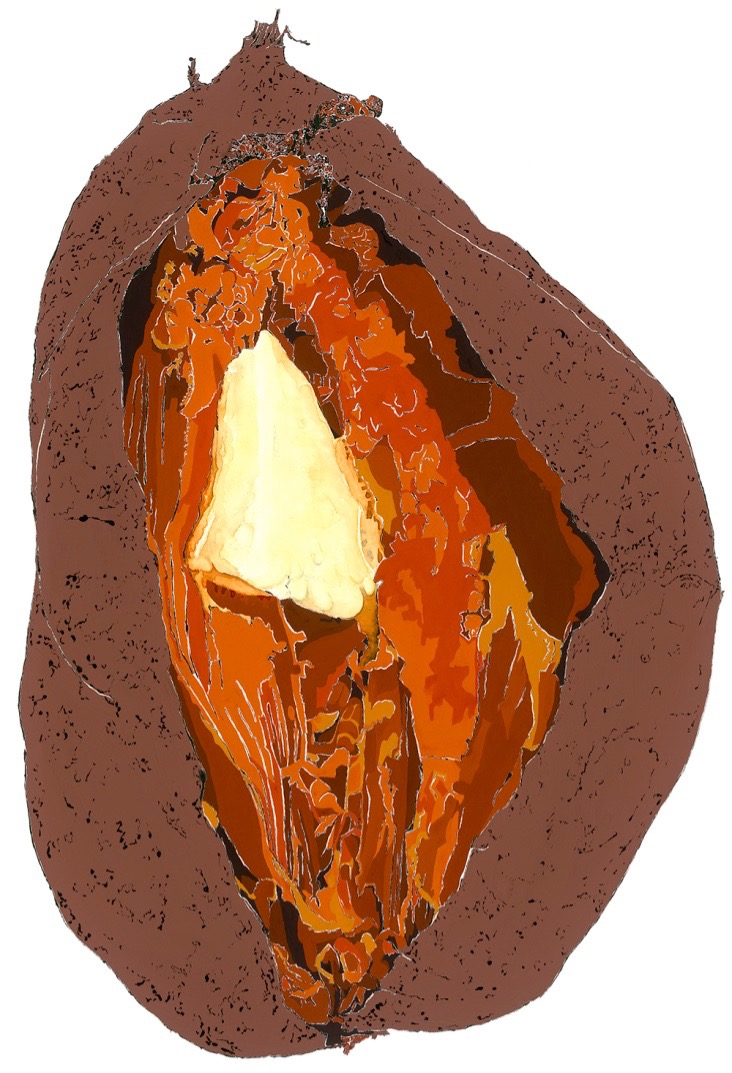 Sweet Potato - Mixed Media & Blotted Line, inspired by a David Hensley poem