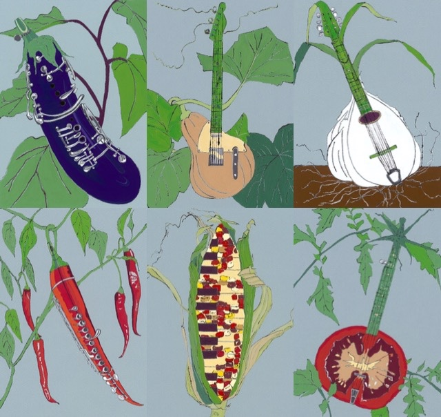 Aubergine Clarinet, Butternut Squash Guitar, Garlic Mandolin, Chilli Flute, Sweet Corn Piano and Tomato Banjo Limited Edition Giclee Prints available framed or unframed.