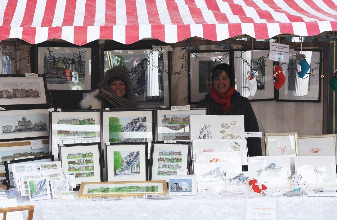 Elaine Gill & Lucy Clayton at The Pantiles Christmas Market in Tunbridge Wells Kent