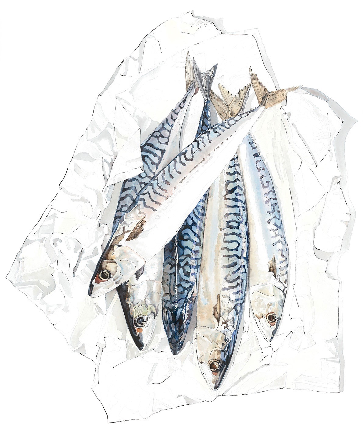 Mackerel - watercolour and blotted line painting. Available as a Giclee print.