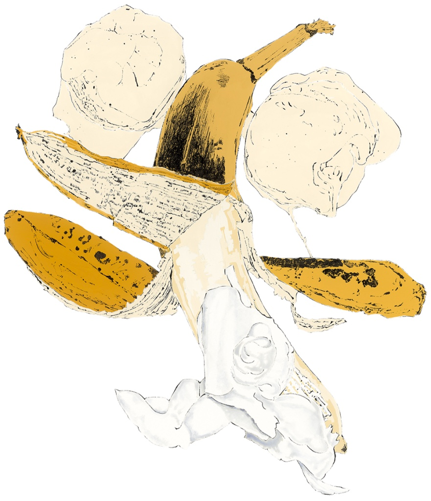 Banana - Blotted Line & mixed Media by Lucy Clayton