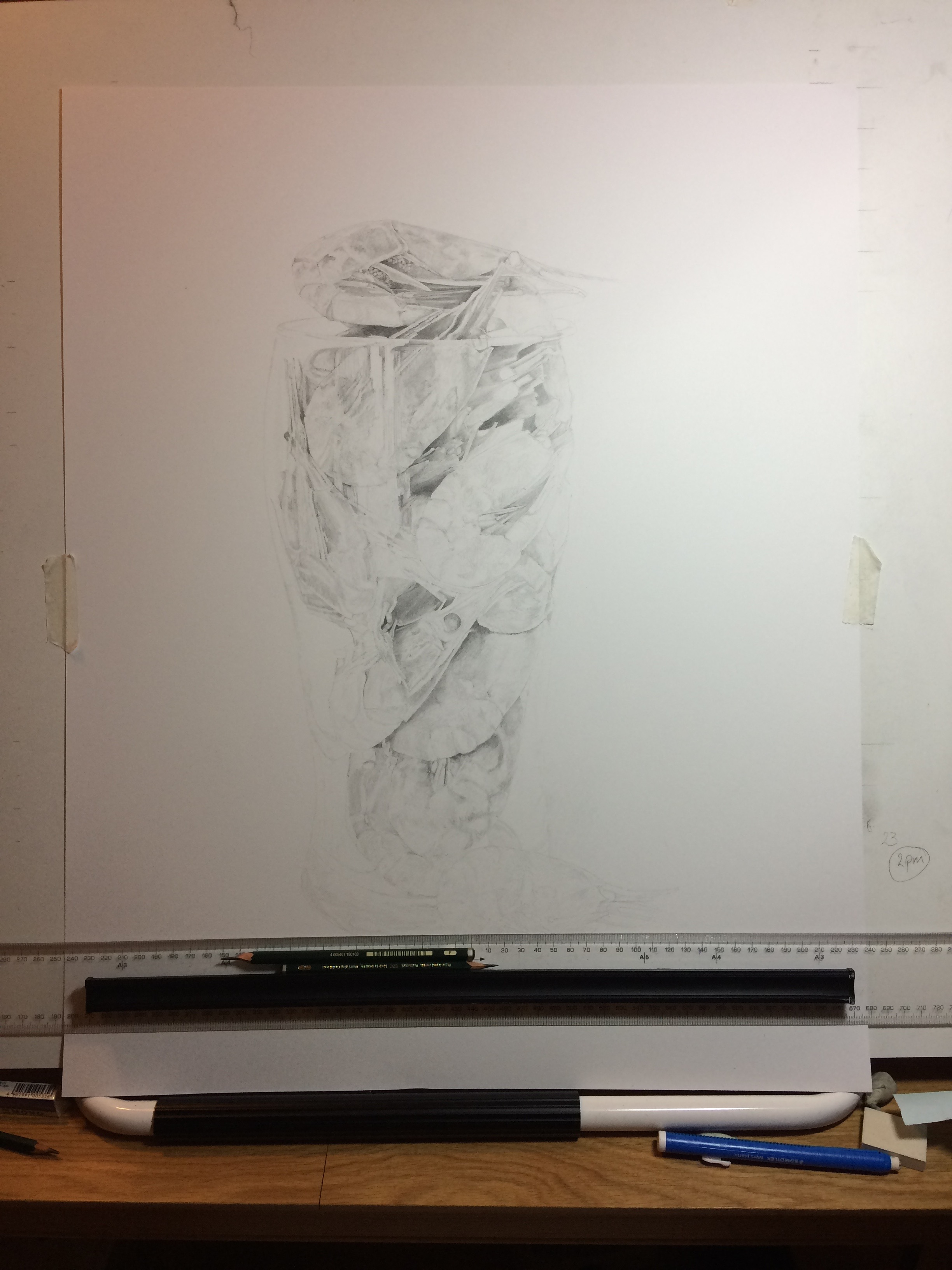 Adding tone to the Pint of Prawns drawing