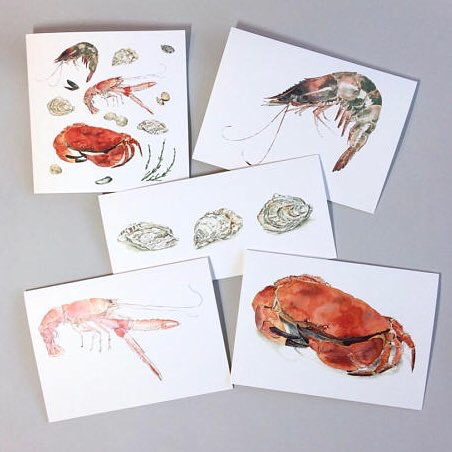 Seafood inspired greetings cards of original watercolour & blotted line paintings by Lucy Clayton
