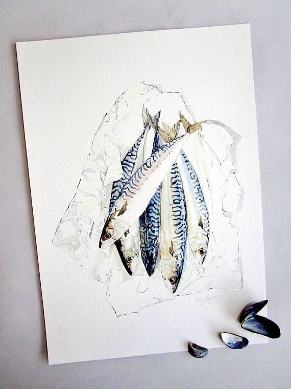 Mackerel - A4 Giclee print of an original blotted line and watercolour painting