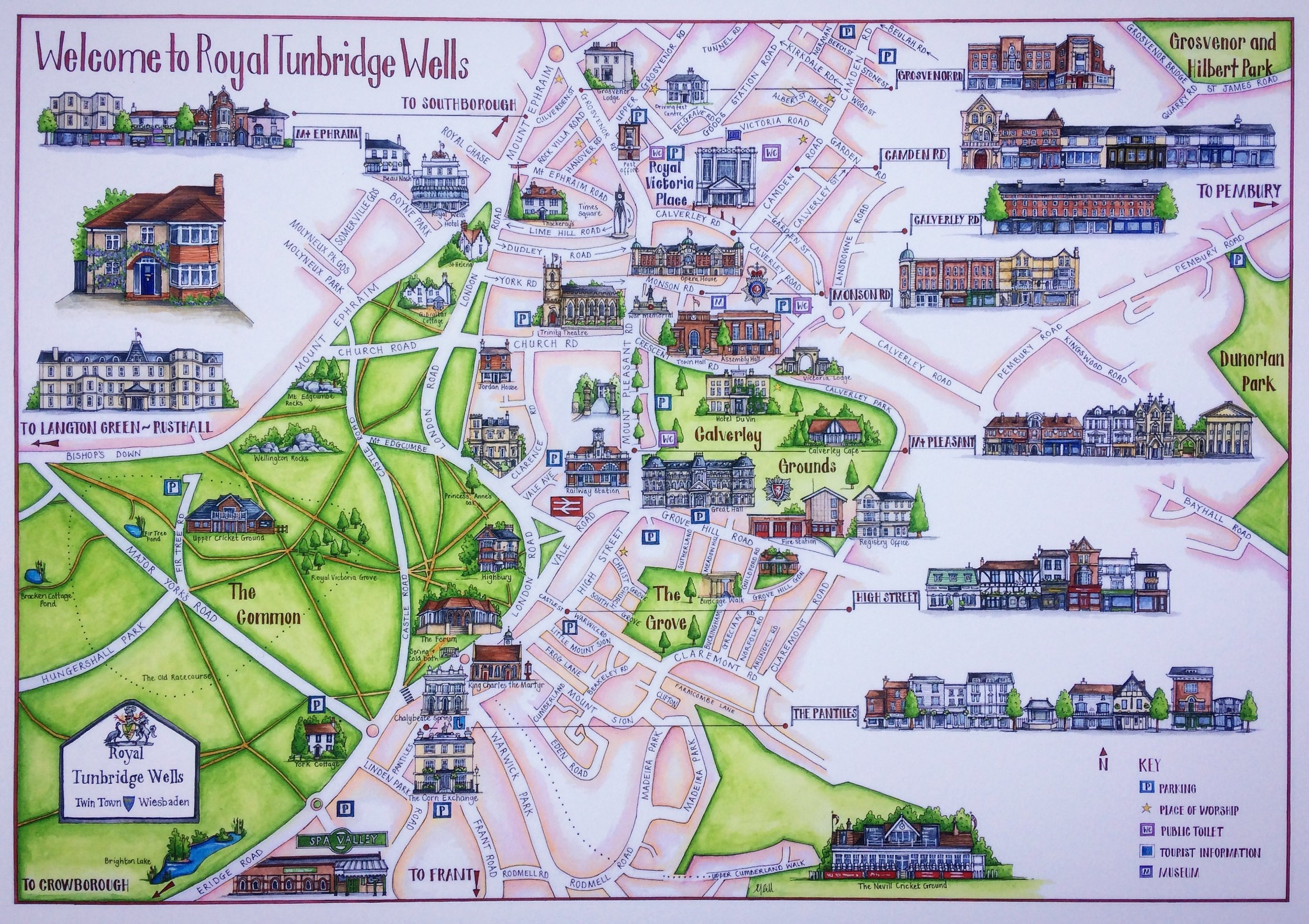 Love my personalised map of Tunbridge Wells, Elaine captured it when the wisteria was in full bloom.