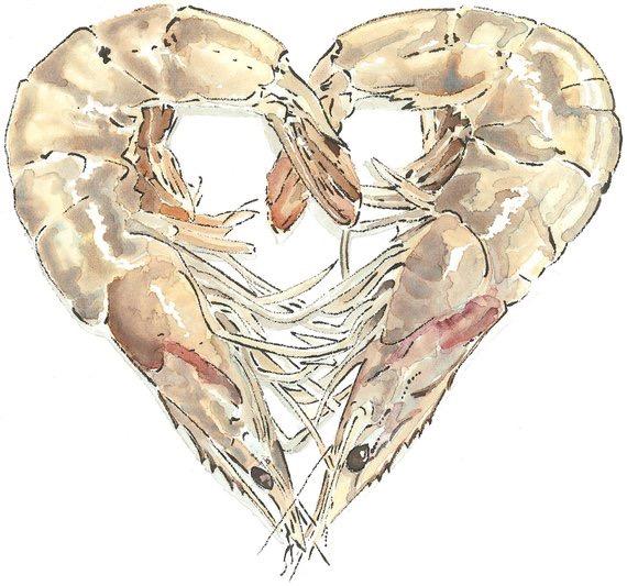 Shellfish Heart - Blotted Line & Watercolour