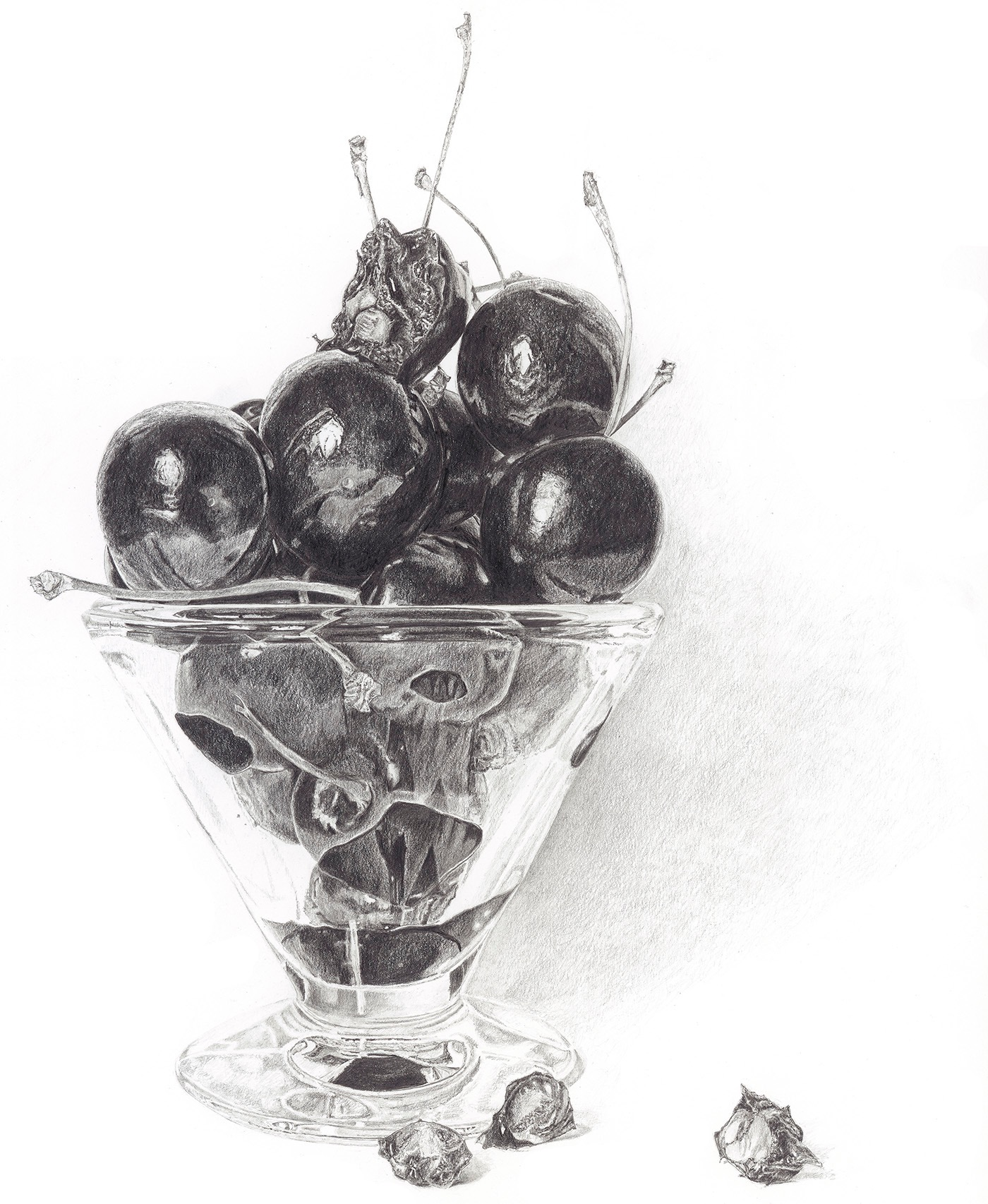 Bite of the Cherry, Pencil Drawing by Lucy Clayton