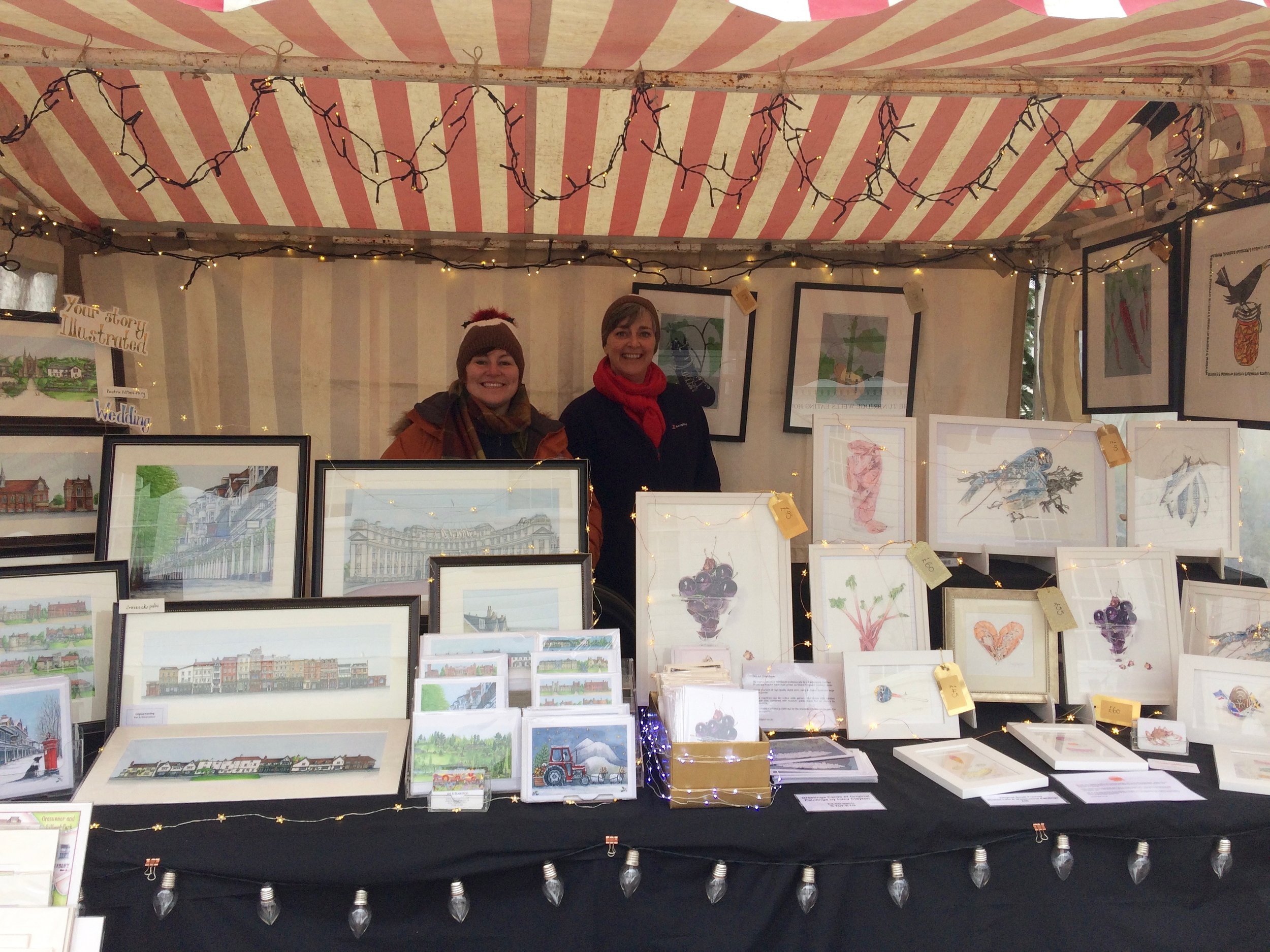 Elaine Gill & Lucy Clayton at The Pantiles Christmas Market in Tunbridge Wells, Kent.